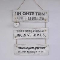 """thumb-Houten Tekstplank / Tekstbord 40x30 cm """"In onze tuin"""" - Kleur Antique White-2"""