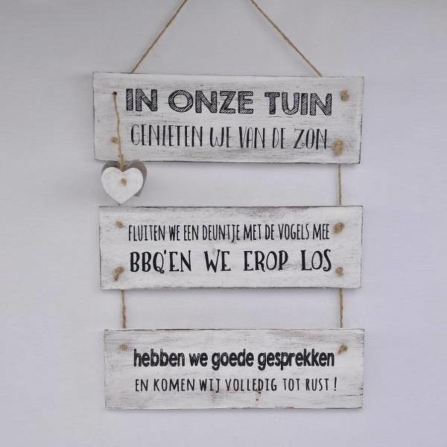 "Houten Tekstplank / Tekstbord 40x30 cm ""In onze tuin"" - Kleur Antique White-2"