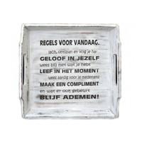 Houten Dienblad 31cm - ''Regels voor Vandaag'' - Kleur Antique White
