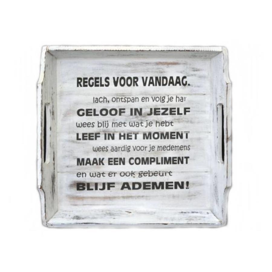 Houten Dienblad 31cm - ''Regels voor Vandaag'' - Kleur Antique White-1
