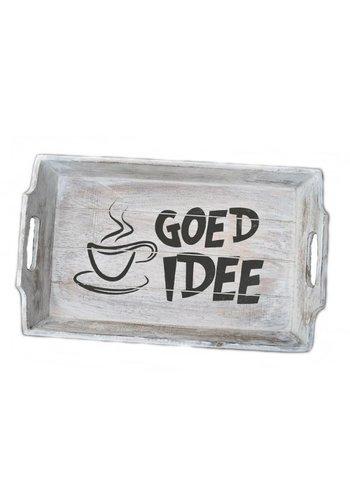 Houten Dienblad 45x27cm - ''Goed Idee'' - Kleur Antique White