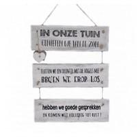 """thumb-Houten Tekstplank / Tekstbord 40x30 cm """"In onze tuin"""" - Kleur Antique White-1"""