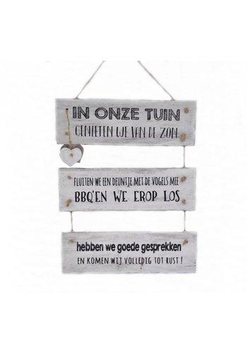 "Houten Tekstplank / Tekstbord 40x30 cm ""In onze tuin"" - Kleur Antique White"