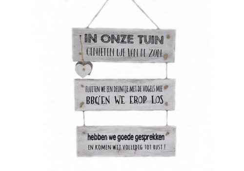 "Houten Tekstplank / Tekstbord 40 x 30 cm ""In onze tuin"" - Kleur Antique White"