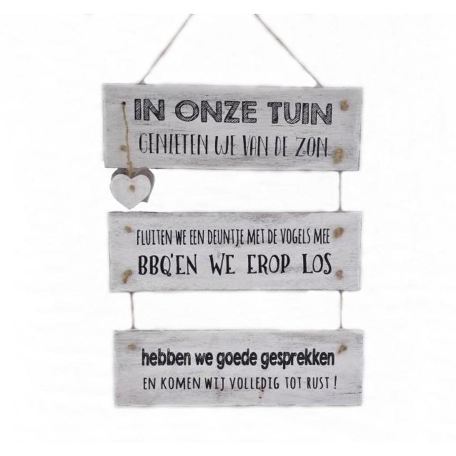 "Houten Tekstplank / Tekstbord 40x30 cm ""In onze tuin"" - Kleur Antique White-1"