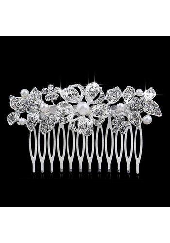Stijlvolle Haarkam bezet met fonkelende Kristallen en Ivoorkleurige Parels