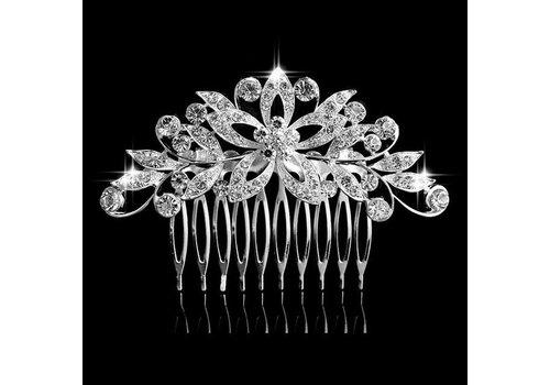 Luxe Haarkam bezet met fonkelende Kristallen