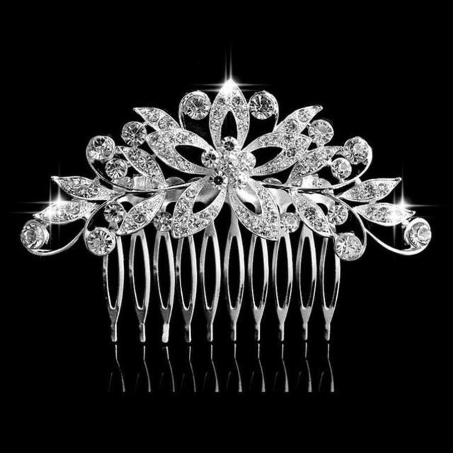Luxe Haarkam bezet met fonkelende Kristallen-1