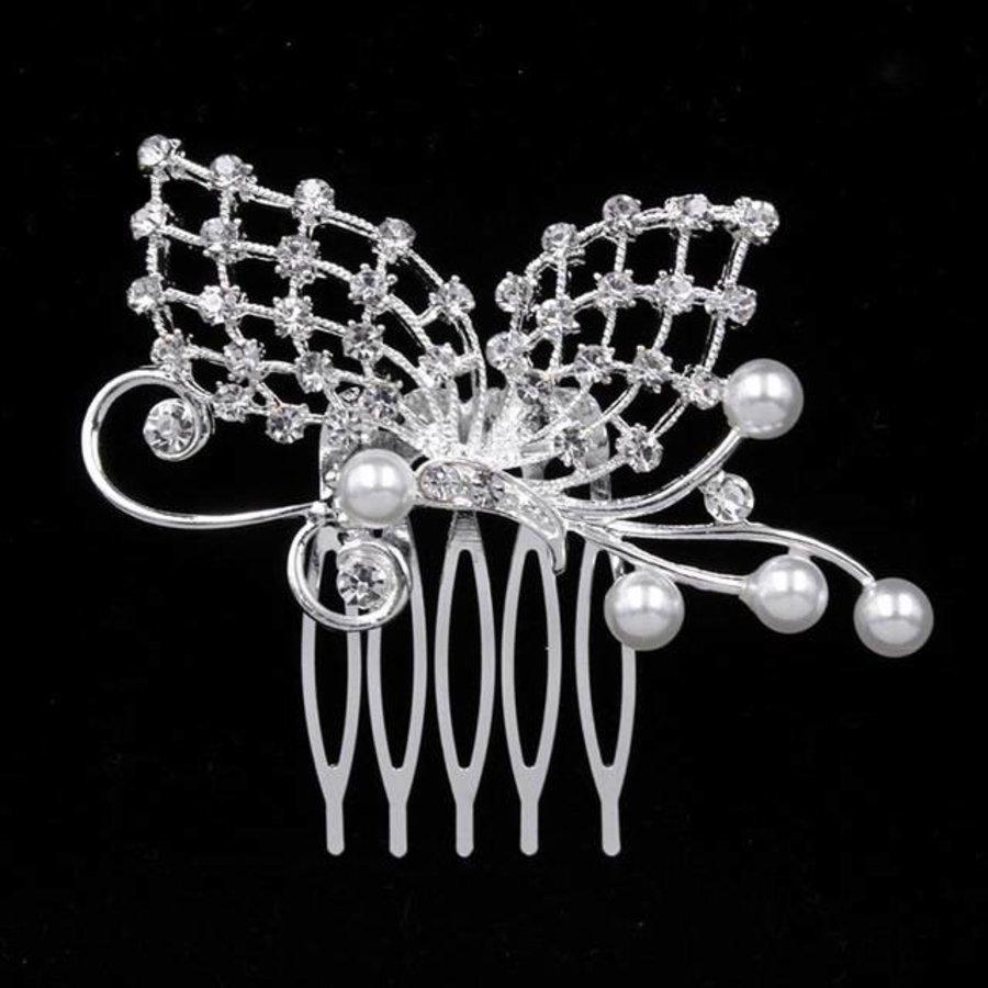 Chique Haarkam Vlinder bezet met fonkelende Kristallen-1