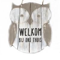 "BonTon - Houten Tekstplank / Teksthart - Uil - 30 cm ""Welkom bij ons thuis"" - Kleur Antique White"