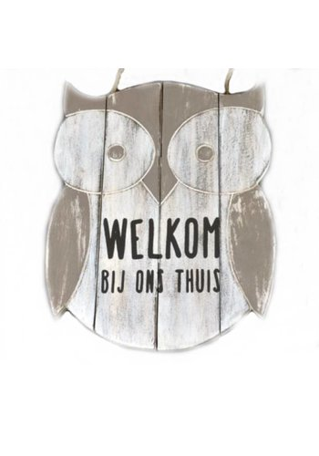 "Houten Tekstplank / Teksthart - Uil -  30cm ""Welkom bij ons thuis"" - Kleur Antique White"