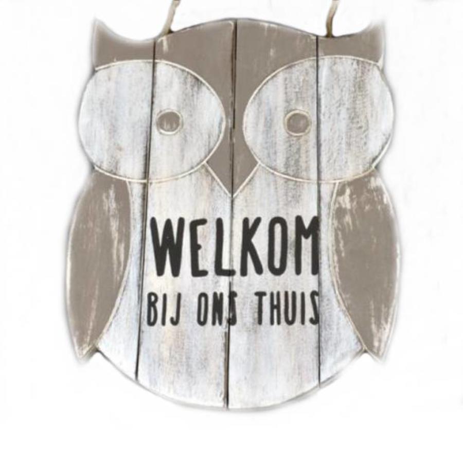 "Houten Tekstplank / Teksthart - Uil -  30cm ""Welkom bij ons thuis"" - Kleur Antique White-1"
