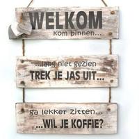 "Houten Tekstplank / Tekstbord 40x30 cm ""Welkom kom binnen......"" - Kleur Antique White"