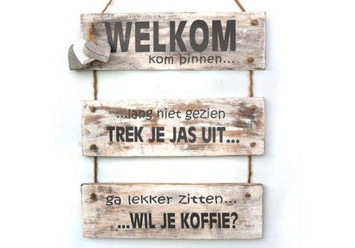 "Houten Tekstplank / Tekstbord 40 x 30 cm ""Welkom kom binnen......"" - Kleur Antique White"