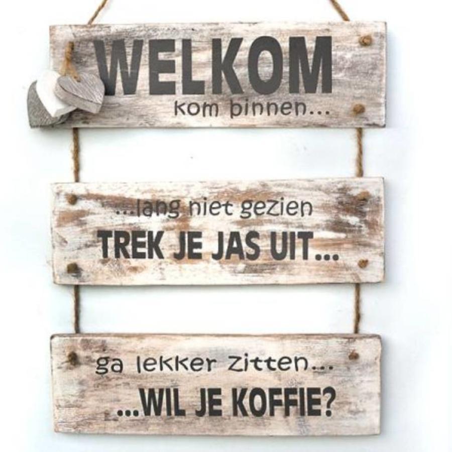 """BonTon - Houten Tekstplank / Tekstbord 40 x 30 cm """"Welkom kom binnen......"""" - Kleur Antique White-1"""
