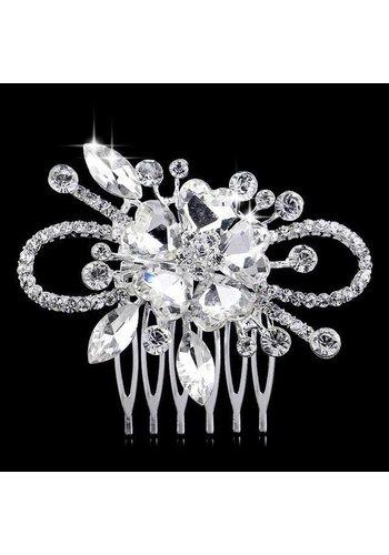 Chique Haarkam Flower bezet met fonkelende Kristallen