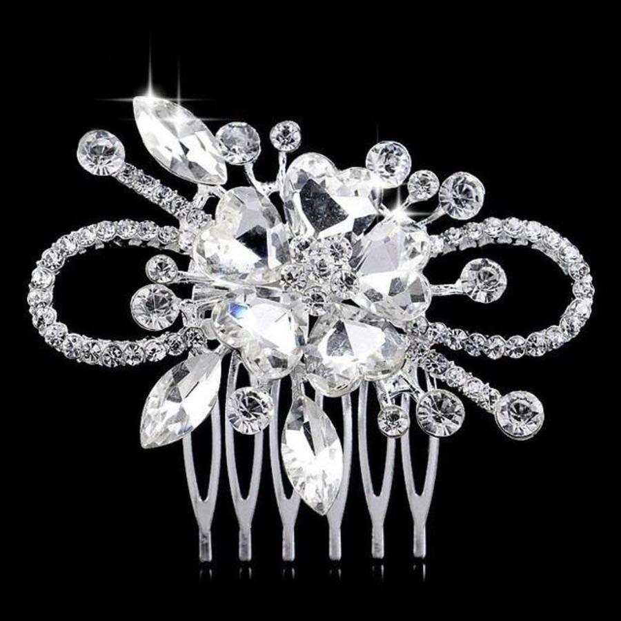 Chique Haarkam Flower bezet met fonkelende Kristallen-1