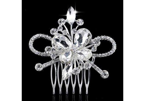 Chique Haarkam Butterfly bezet met fonkelende Kristallen