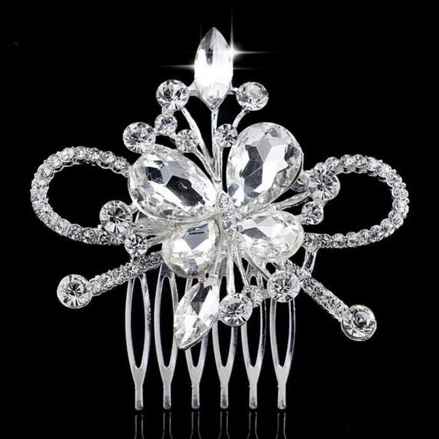 Chique Haarkam Butterfly bezet met fonkelende Kristallen-1