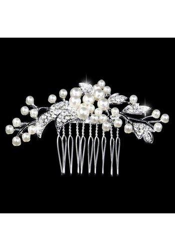 Chique Haarkam bezet met fonkelende Kristallen en Ivoorkleurige Parels