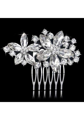 Fonkelende Flower Haarkam bezet met Kristallen