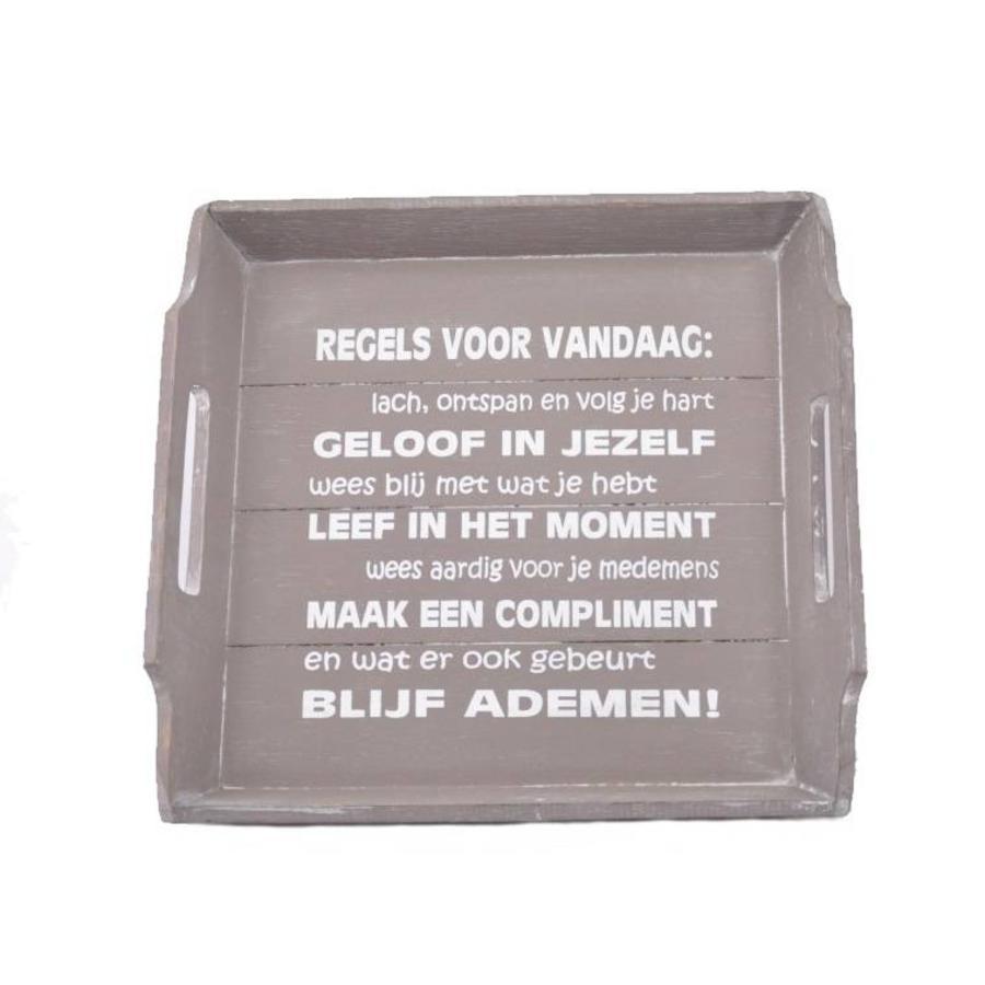 Houten Dienblad 31cm - ''Regels voor Vandaag'' - Kleur Taupe-1
