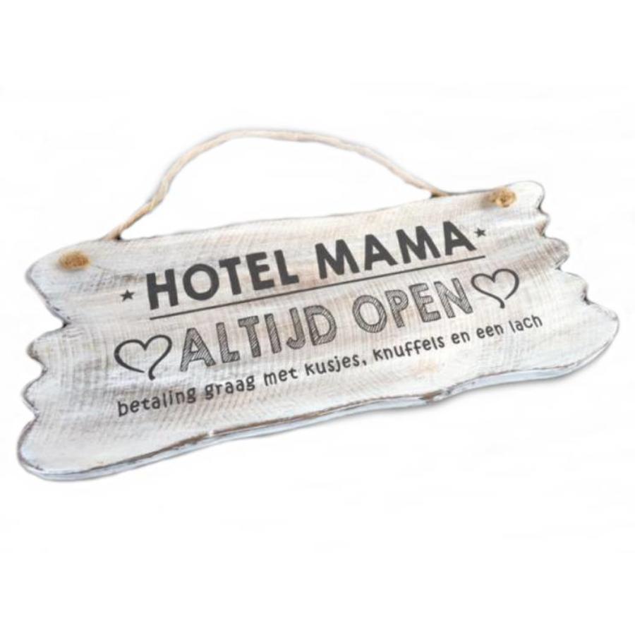 "Houten Tekstplank / Tekstbord 12x30cm ""Hotel Mama....Altijd Open"" - Kleur Antique White-1"