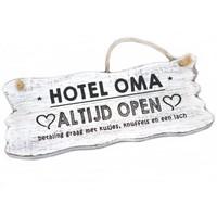 "Houten Tekstplank / Tekstbord 12x30cm ""Hotel Oma....Altijd Open"" - Kleur Antique White"