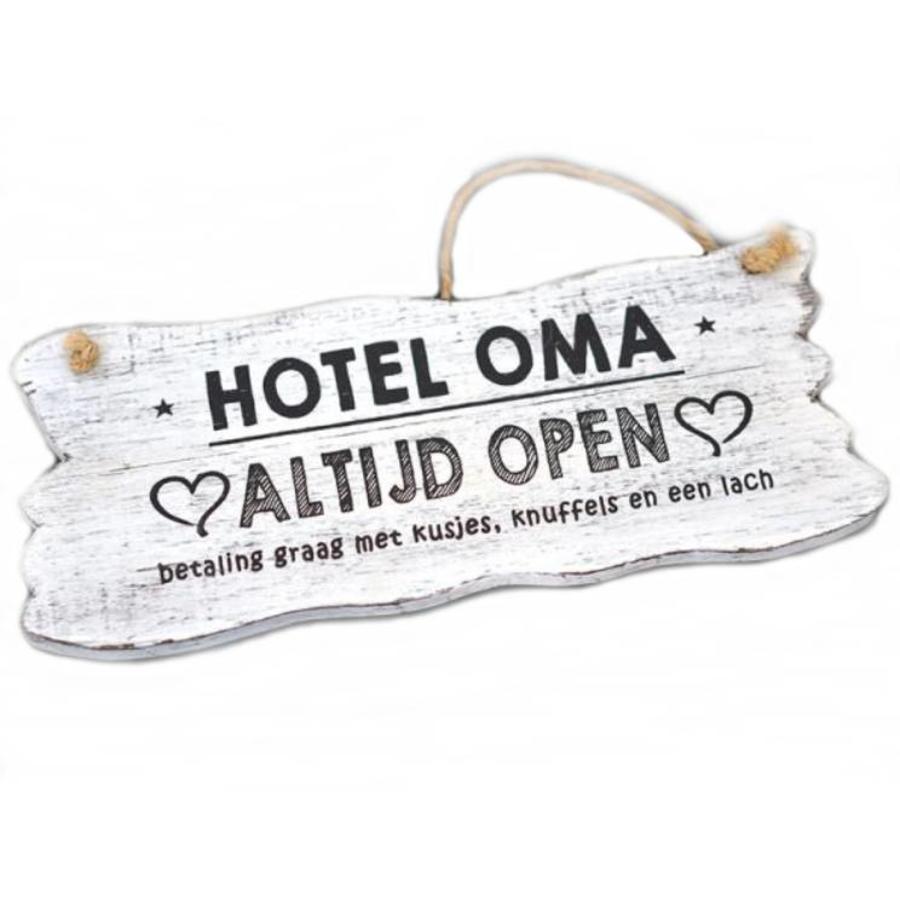 "Houten Tekstplank / Tekstbord 12x30cm ""Hotel Oma....Altijd Open"" - Kleur Antique White-1"