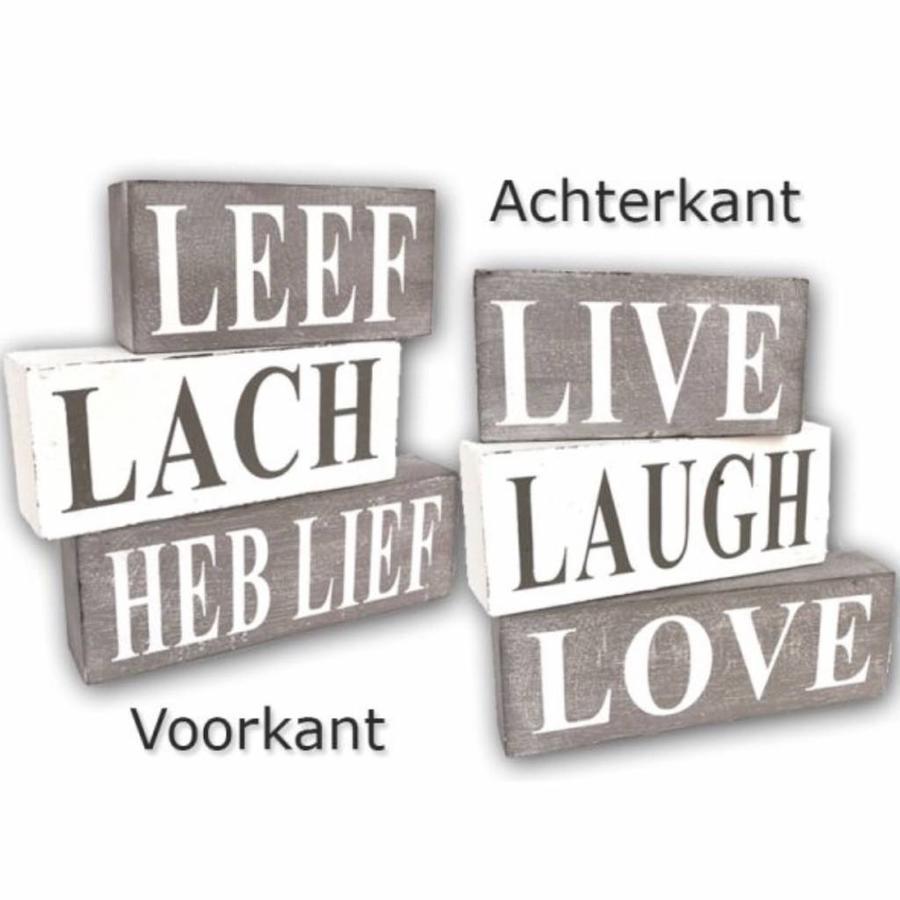 BonTon - Houten Tekstplank / Tekstbord / 3 blokken ''Leef, Lach, Heb Lief' - Kleur Antique White & Taupe-1