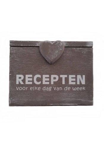 Houten Recepten Box 18x10x14 cm - ''Recepten voor elke dag van de week'' - Kleur Taupe