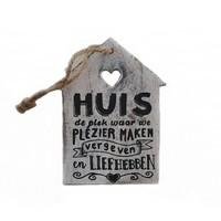 "thumb-Houten Tekstplank / Tekstbord -  12cm ""Huis de plek waar we...."" - Kleur Antique White-1"