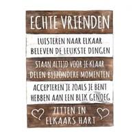 """BonTon - Houten Tekstplank / Tekstbord 40 x 30 cm """"Echte Vrienden...."""" - Kleur Naturel en Antique White"""