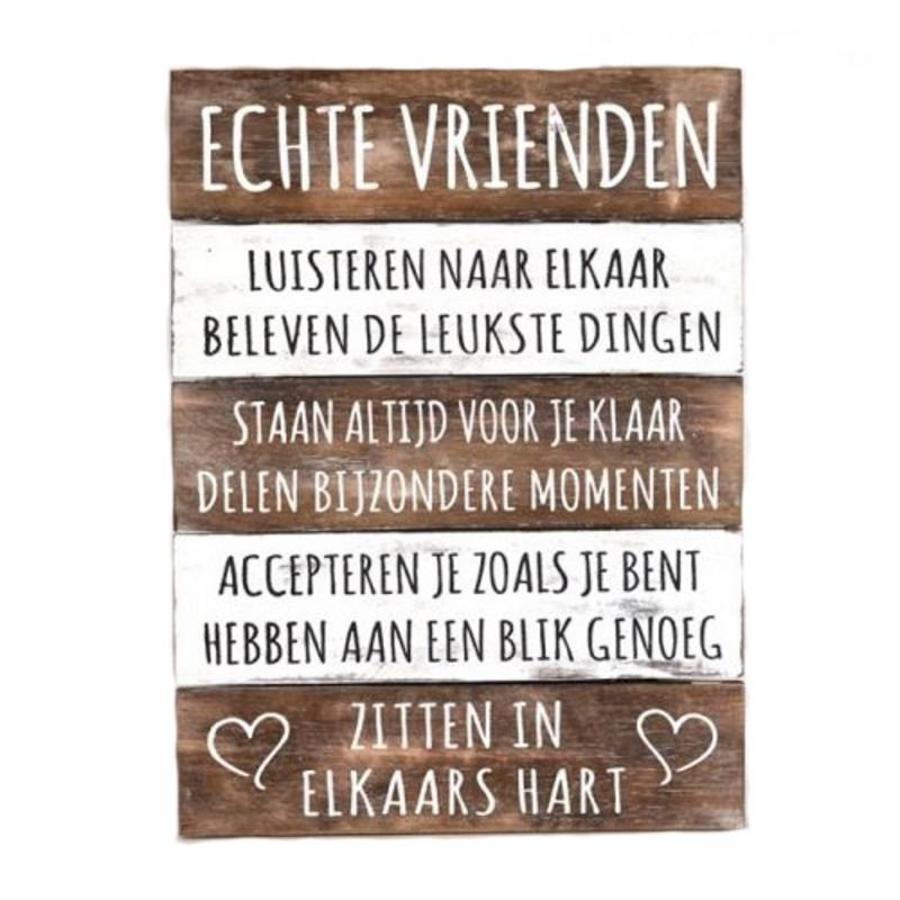 """BonTon - Houten Tekstplank / Tekstbord 40 x 30 cm """"Echte Vrienden...."""" - Kleur Naturel en Antique White-1"""