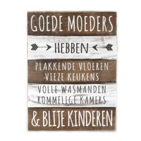 "BonTon - Houten Tekstplank / Tekstbord 40 x 30 cm ""Goede Moeders...."" - Kleur Naturel en Antique White"