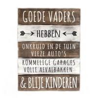 "BonTon - Houten Tekstplank / Tekstbord 40 x 30 cm ""Goede Vaders...."" - Kleur Naturel en Antique White"