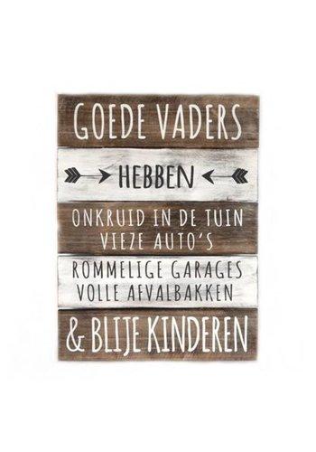 "Houten Tekstplank / Tekstbord 40x30cm ""Goede Vaders...."" - Kleur Naturel en Antique White"
