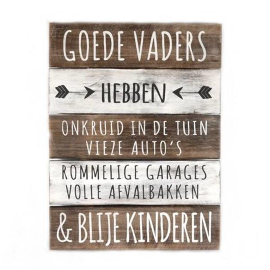 "BonTon - Houten Tekstplank / Tekstbord 40 x 30 cm ""Goede Vaders...."" - Kleur Naturel en Antique White-1"