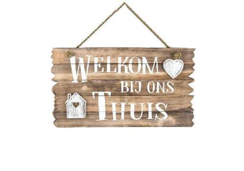 """Houten Tekstplank / Tekstbord 26 x 44 cm """"Welkom bij ons Thuis"""" - Kleur Naturel"""