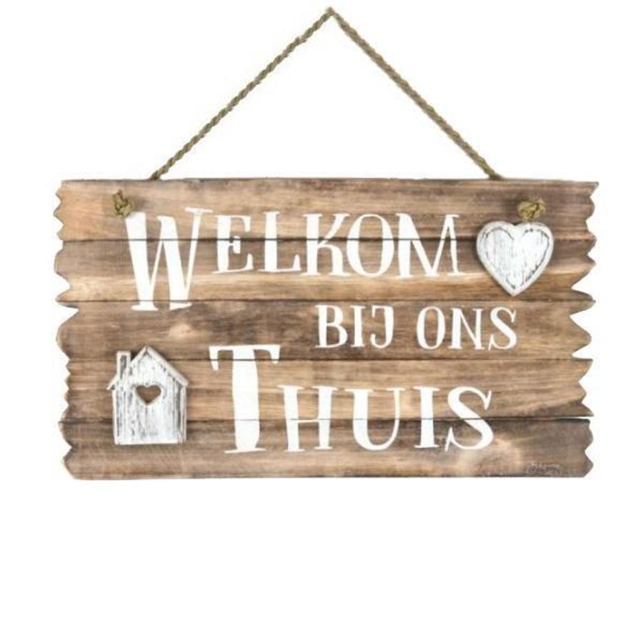 """Houten Tekstplank / Tekstbord 26x44cm """"Welkom bij ons Thuis"""" - Kleur Naturel-1"""