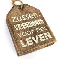 """thumb-Houten Tekstplank / Tekstbord -  9cm """"Zussen vriendinnen voor het leven"""" - Kleur Naturel-2"""