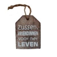 """thumb-Houten Tekstplank / Tekstbord -  9cm """"Zussen vriendinnen voor het leven"""" - Kleur Naturel-1"""
