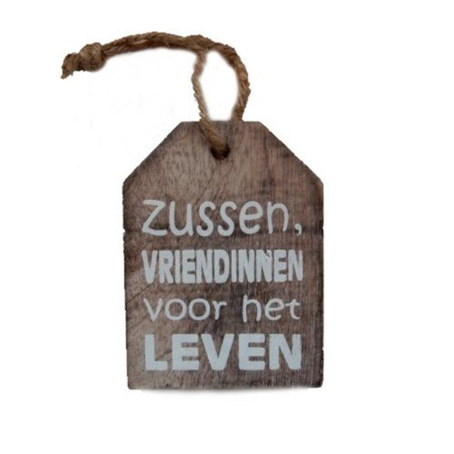 """Houten Tekstplank / Tekstbord -  9cm """"Zussen vriendinnen voor het leven"""" - Kleur Naturel-1"""