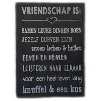 "thumb-Houten Tekstplank / Tekstbord 25X18cm ""Vriendschap is...."" - Kleur Antique Grey-1"