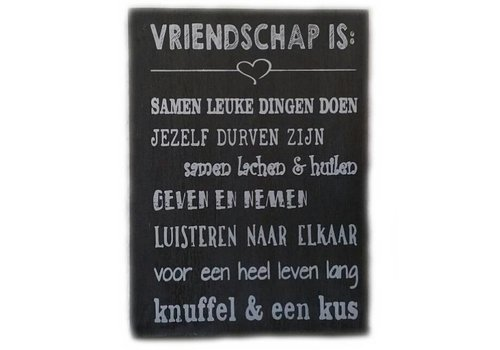 """Houten Tekstplank / Tekstbord 25 x 18 cm """"Vriendschap is...."""" - Kleur Antique Grey"""