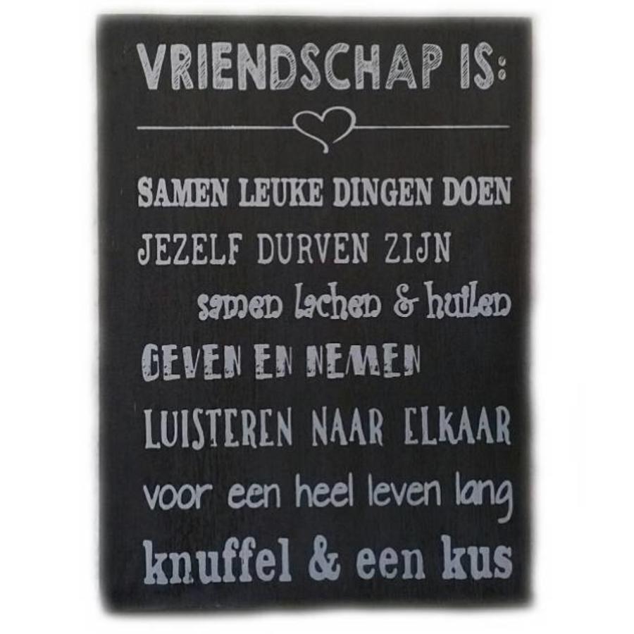 """Houten Tekstplank / Tekstbord 25X18cm """"Vriendschap is...."""" - Kleur Antique Grey-1"""