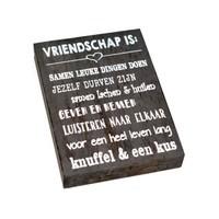 "thumb-Houten Tekstplank / Tekstbord 25X18cm ""Vriendschap is...."" - Kleur Antique Grey-2"