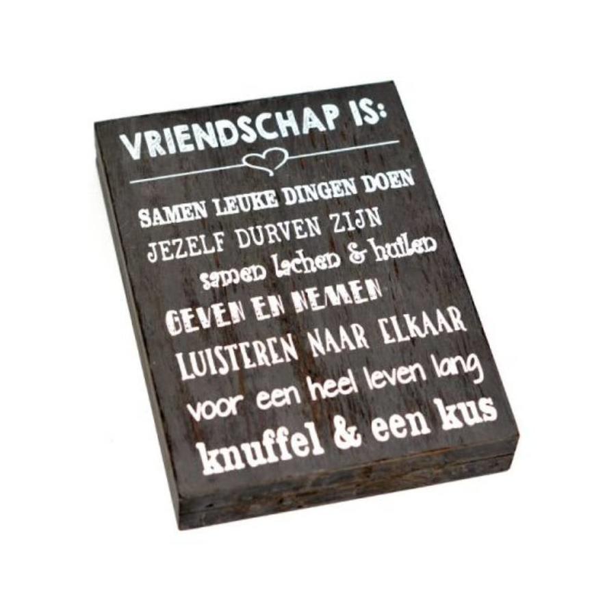 """Houten Tekstplank / Tekstbord 25X18cm """"Vriendschap is...."""" - Kleur Antique Grey-2"""