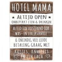 "thumb-Houten Tekstplank / Tekstbord 40x30cm ""Hotel Mama"" - Kleur Naturel en Antique White-1"