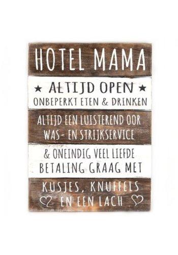 "Houten Tekstplank / Tekstbord 40x30cm ""Hotel Mama"" - Kleur Naturel en Antique White"